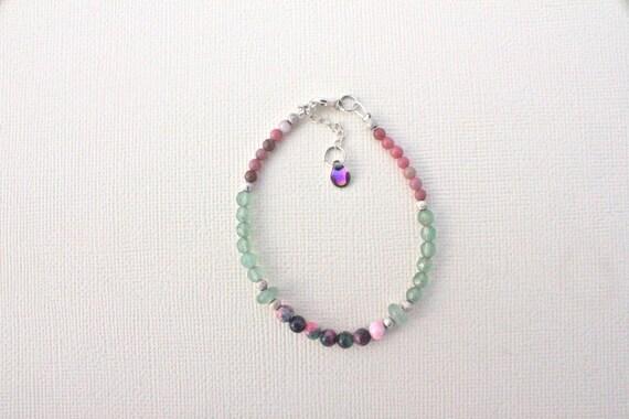 Bracelet pierres fines et argent 925 : jade candy, aventurine et rhodonite