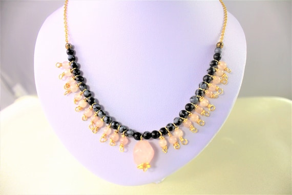 gold plated boho wedding fine obsidian and rose quartz stones and chain necklace