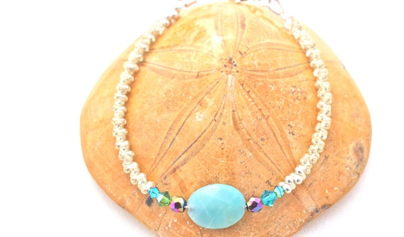 gemstones and silver bracelet: amazonite, Rainbow hematite, seed beads