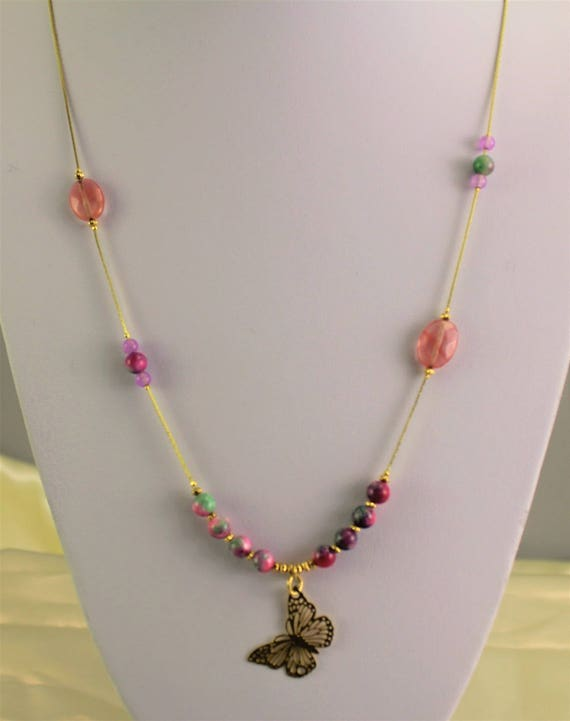 Necklace boho chic gold plated with filigree pendant and gemstones