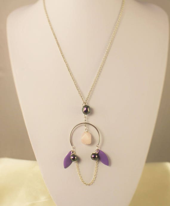 Necklace Silver 925 fine stone and iridescent purple swarovski necklace