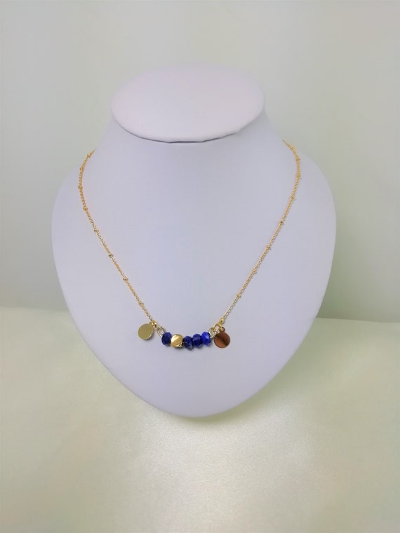 Necklace chain plated gold with lapis lazuli faceted and 2 gold plated