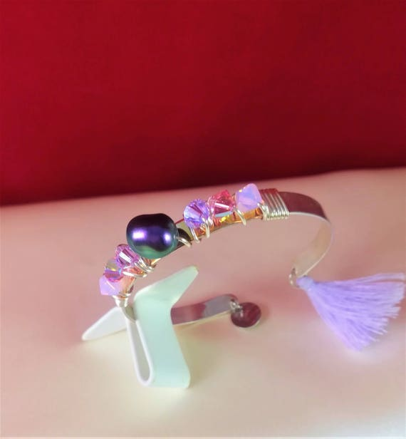 wedding silver plated bangle bohemian chic with mauve and purple swarovski pearls
