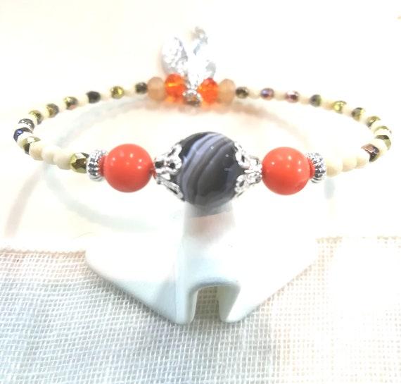 Fine, boho beads and silver plated charm Beads Bracelet