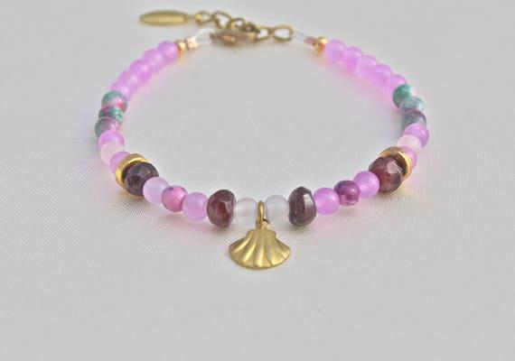 precious stones bracelet : garnet, jade lavander, jade candy, snow quartz with brass fittings