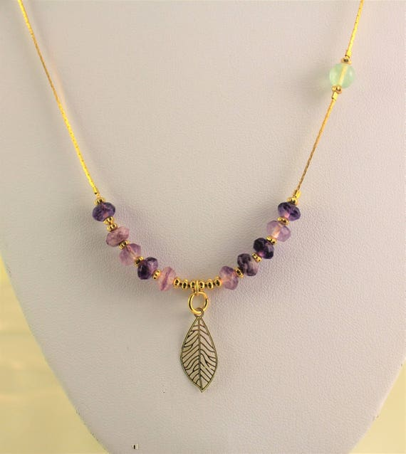Necklace boho chic filigree pendant, gold plated rings with gemstones