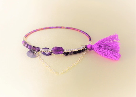 faceted Amethyst boho memory bracelet, seed beads, tassel and charm sequin