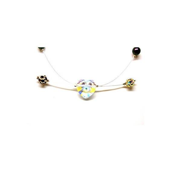 collier Swarovski coeur et perles strassées et nacrées