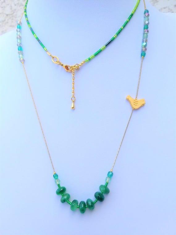 sautoir plaqué or pierres fines, rocailles et perles de bohème