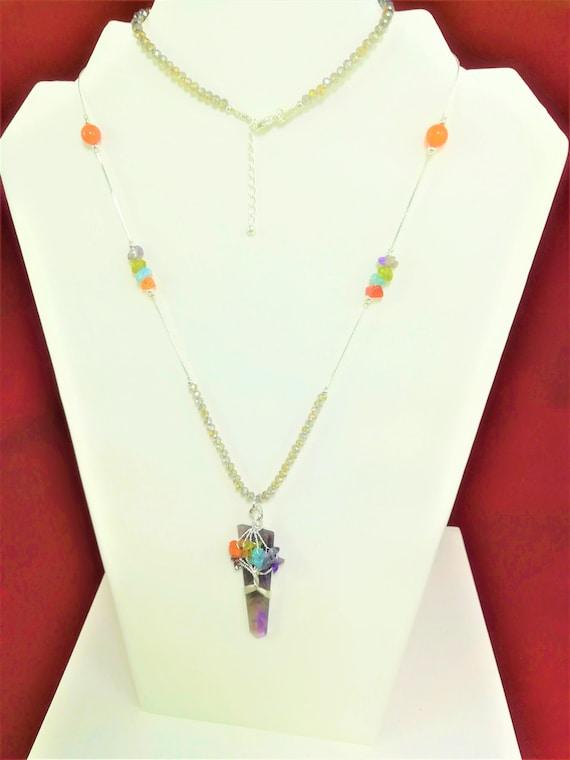 bohemian and chic long neclace, pendant with semi-precious stones, cornalian pearls,  hemimorphite, silver fine chain