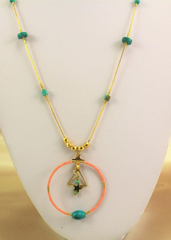 Necklace gold plated boho chic semi-precious turquoise beads and seed beads