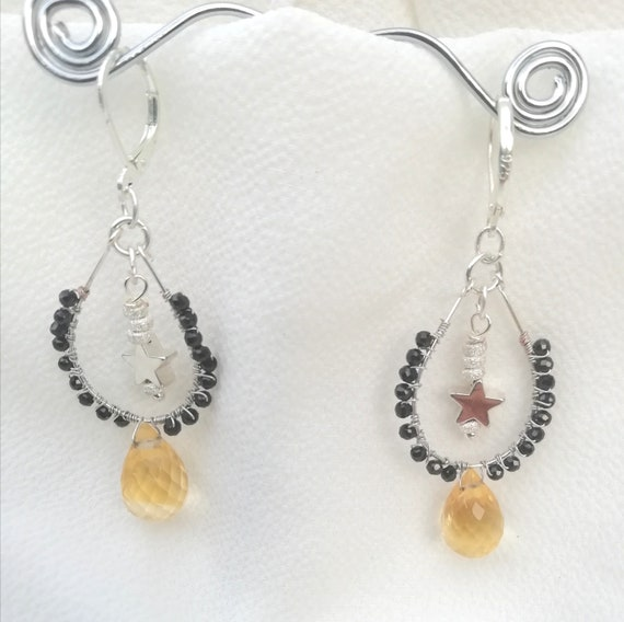 Ding drop earrings, 925 silver sleepers with star, silver beads, citrine and black spinel