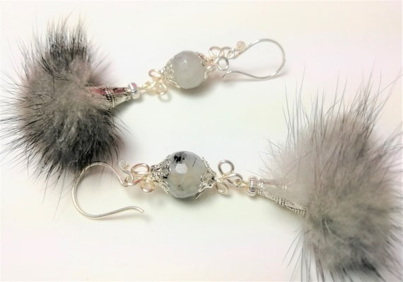 Silver hoop earrings 925 stone rutile quartz, gray fur tassel