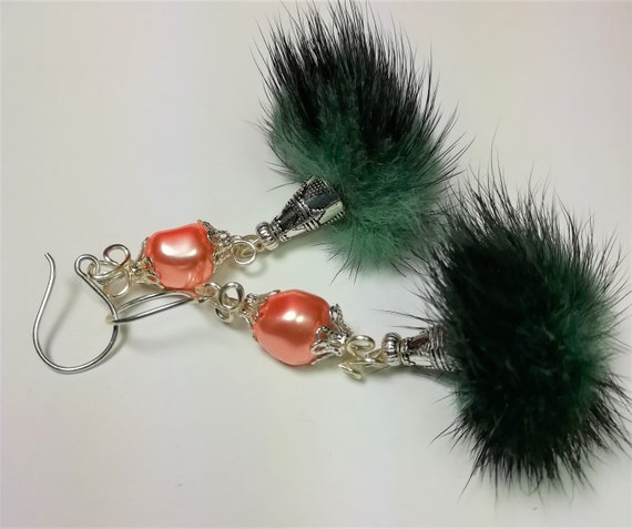 Green fur Pompom and swarovski baroque Pearl 925 Silver earrings