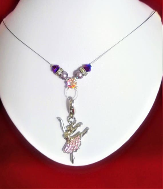 Necklace pearls and swarovski purple and pink ballerina charm