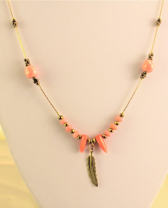 bohemian chic and golden plated necklace with precious stones, seed beads and swarovski beads