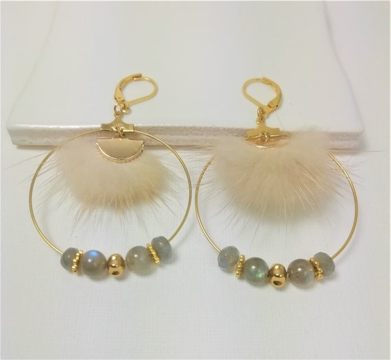 Gold plated hoop earrings with fine stone Labradorite and beige fur half-moon connector