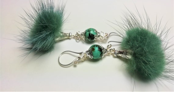 Silver earrings 925, black fur tassel and African Jasper green mottled green gemstone beads