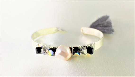 swarovski black and white wedding Bangle Bracelet silver plated