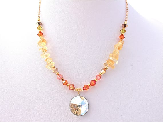 Wedding necklace cabochon, swarovski tops with citrine chips, seed beads and chain gold plated