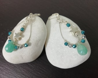 Earrings drops with amazonite, Boho pearls, 925 silver pearls and silver stars.