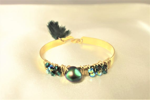 Green scarab beetle, Pompom and spiral charm swarovski elements gold plated, Bangle Bracelet