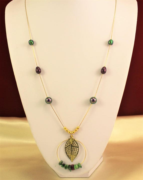 leaf necklace filigree print with gemstones, with pearls swarovski and gold plated chain