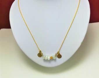 minimalist necklace with a fine chain and gold plated medals, with rainbow labradorite