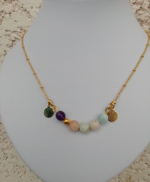 Plated satellite chain necklace gold with gemstones and 2 medals
