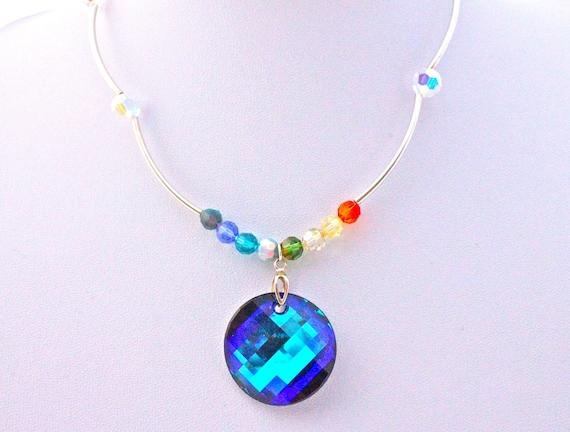 collier vintage cabochon  et perles cristal swarovski