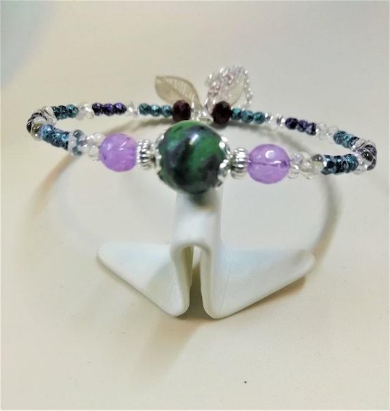 bracelet argent 925  pierres fines et perles boheme