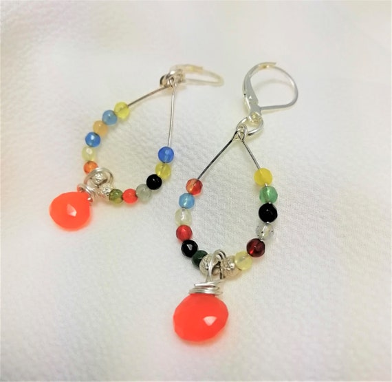 drops earrings, fine stones and silver beads 925 handmade