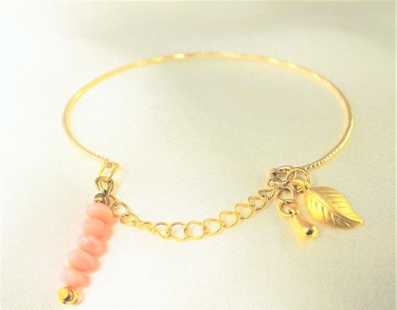 bracelet plaqué or et pierres fines
