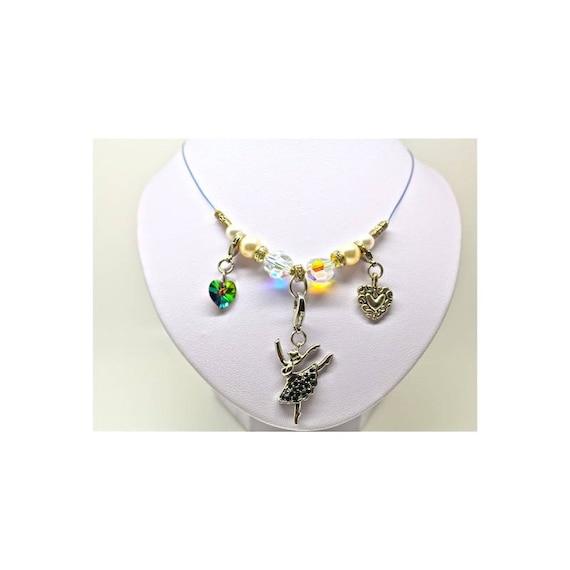 Collier ballerine strassée et perles swarovski