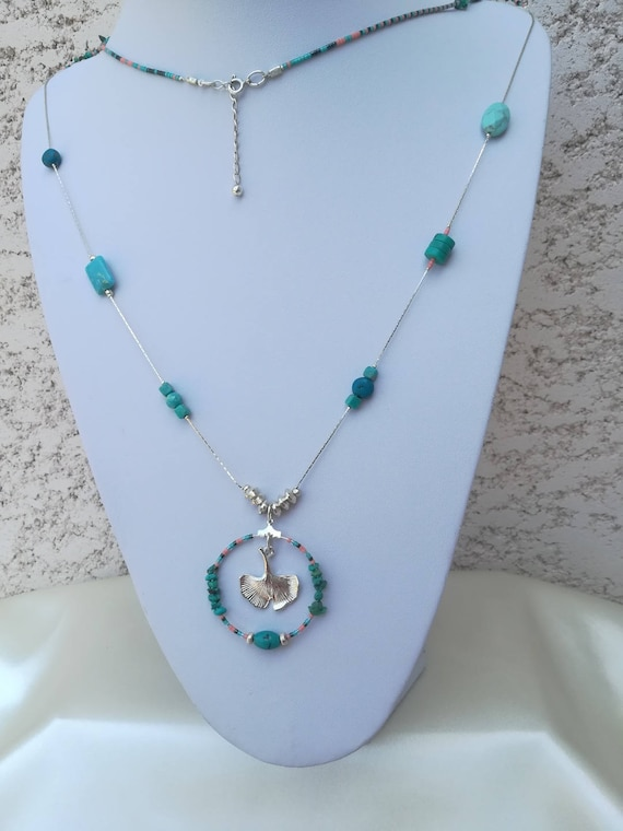 tropical style necklace seed beads, turquoise, reality and gingko pendant necklace