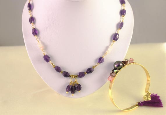 pink quartz and Amethyst gemstones necklace