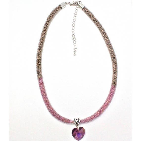 chic heart mesh necklace and Crystal bridal necklace