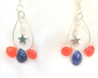 Earrings druid drops lapis lazuli, cornaline with star and silver beads 925
