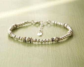 Sterling Silver Bead Bracelet - Beaded Silver Bracelet - Silver Bead Bangle - Delicate Silver Bracelet - Adjustable Bracelet  - Handmade UK