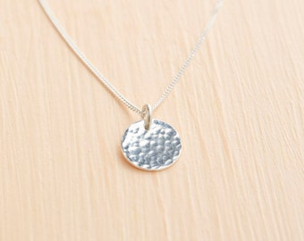 Silver Disc Necklace - Delicate Silver Necklace - Silver Pendant - Hammered Disc Necklace UK - Dainty Necklace - Silver Coin Necklace