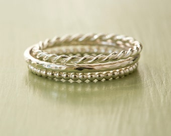 Sterling Silver Stacking Ring Set - Set of 3 Stacking Rings - Twist Ring - Hammered Ring - Beaded Ring - Delicate Ring - 925 Stacking Bands