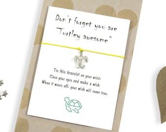 Turtle Wish Bracelet. Turtle Charm Bracelet. Friendship Bracelet. Turtle Jewelry. Turtle Gift. Wish Bracelet Gift. Stocking filler.