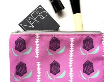 Bold floral makeup bag, boho cosmetic bag vintage Scandinavian print pencil case, zipper pouch bag bridesmaid gift best friend gift