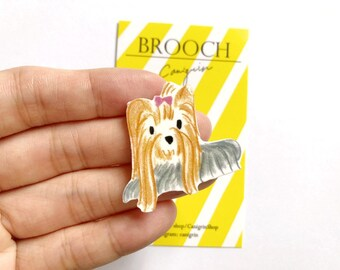 Dog pin Brooch ArtDog Limited Edition in Box Casket Yorkshire Terrier Head Badge