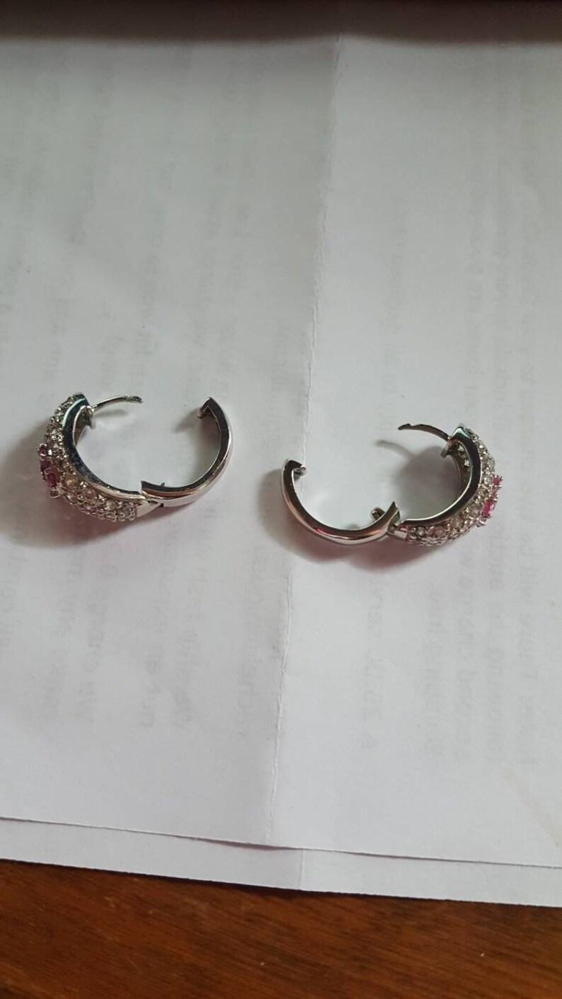 Brand New Sterling Silver WhitePink CZ Flower Cluster Ring /& Earring Set!!!