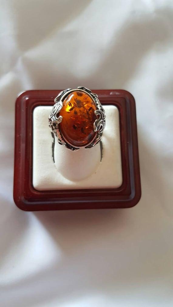 Sterling Silver Amber Grape Vine Oval Ring
