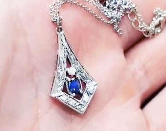 Diamond & Sapphire Platinum color VIDEO Available  Antique Necklace Victorian Baroque Style Womens Diamond And Sapphire Necklace Unique !