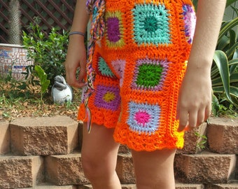 Granny square crocheted tie up shorts| Tassel's| Women's| One size fits all| Winter\ Summer| Gypsy| Hippy clothes| Boho shorts| Vegan| Cute