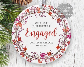 engagement ornament personalized with names and date engagement christmas gift with floral wreath engagement party gift for engaged couple