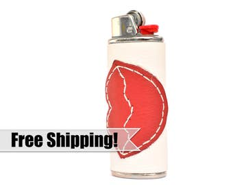 BIC Leather Kissing Lips Cover – Personalize your Lighter with this Handmade Case – Cute Bridesmaid Party Gift / Unique Accessory / Candle